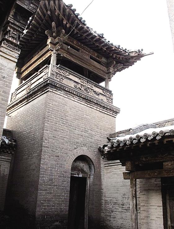 古风城楼顶手绘图